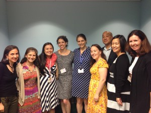 Doctors, Colleagues, and Friends. Left to right: Maria Luisa Sulis, Julia Glade Bender, Evelyn Rustia, Chana Glasser, Sarah Tannenbaum, Ellen Hooper, Andrew Kung, Alice Lee, and Kara Kelly