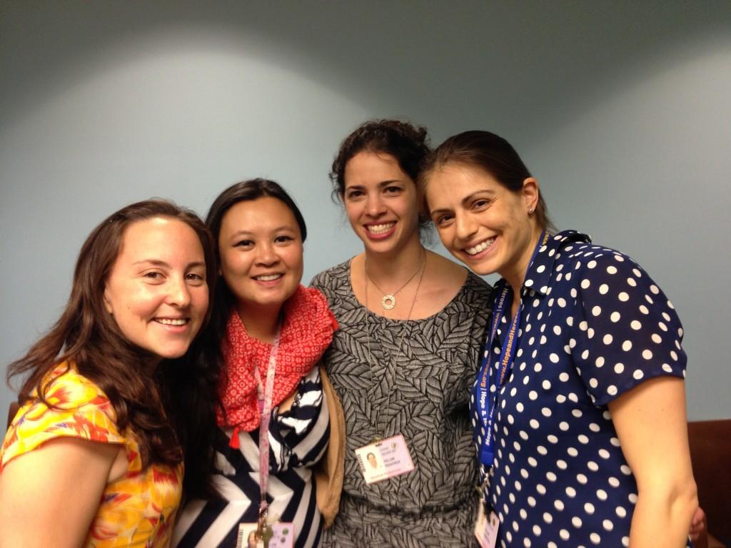 Left to right: Ellen Hooper, Evelyn Rustia, Chana Glasser, and Sarah Tannebaum
