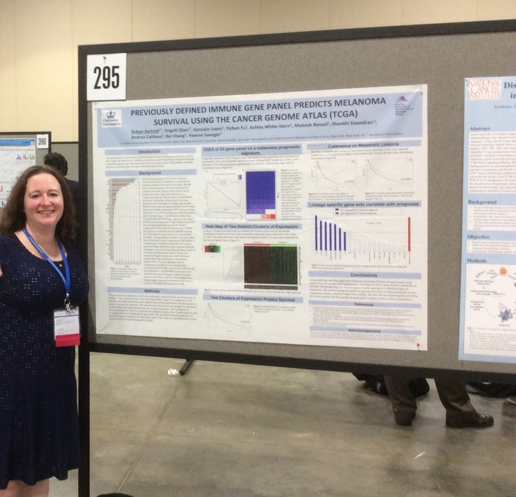 Dr. Robyn Gartrell with her poster at SITC.